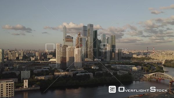 Early Sunset Light from the Moscow With Business City Center. Moscow Russia Drone Video View