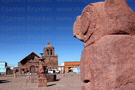 Statue of condor in main square and San Pedro church, Tiwanaku, La Paz Department, Bolivia