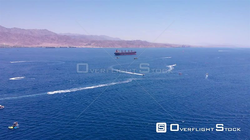 Large Gas Tanker Ship in The Red Sea Aerial Israel