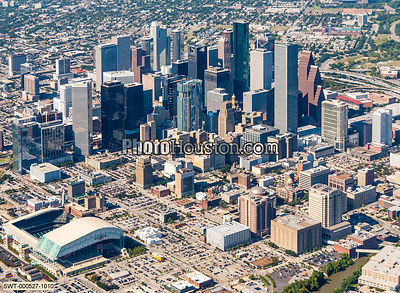 Aerial view of downtown Houston and Minute Maid Park
