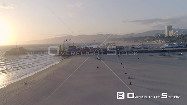 Drone Video Deserted Beach During COVID-19 Pandemic. Santa Monica Beach California