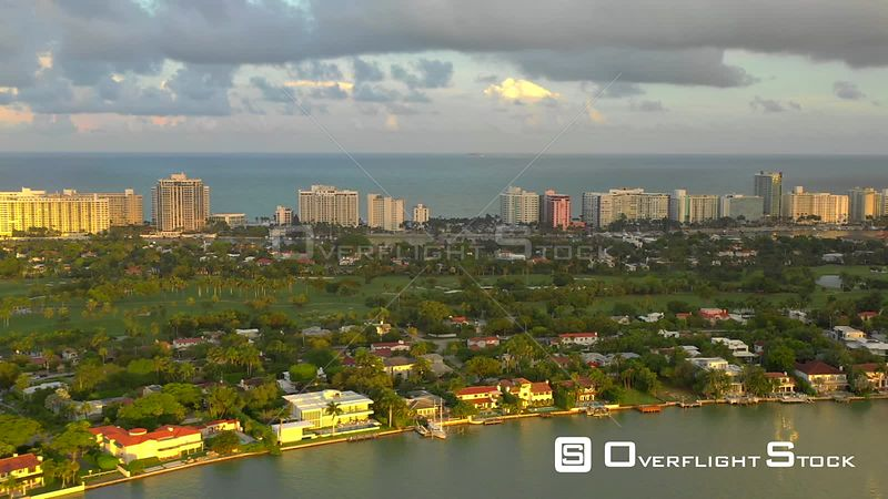 Aerial flying by Miami Beach golf course landscape