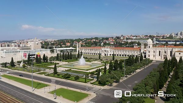Aerial tracking of Jerónimos Monastery and Empire Square, in Belém, Lisbon, empty streets During Covid-19 Pandemic Portugal