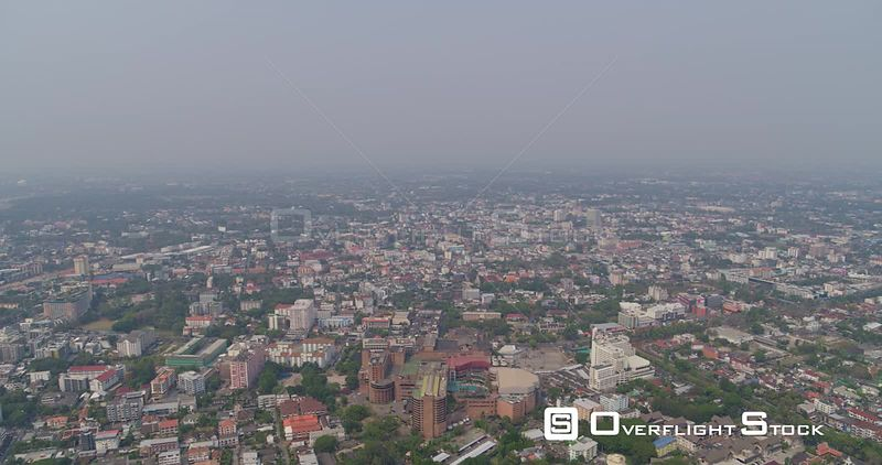 Chang Mai Thailand Aerial Panoramic cityscape with airport in view