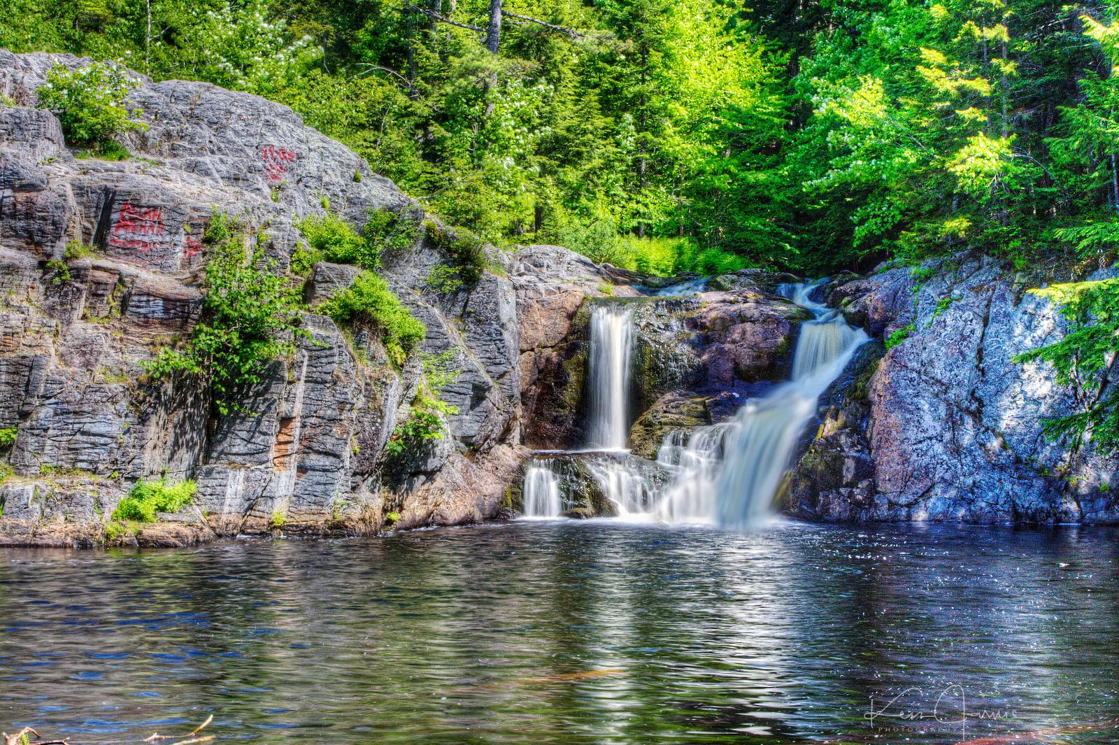 Secluded waterfall in Nova Scotia