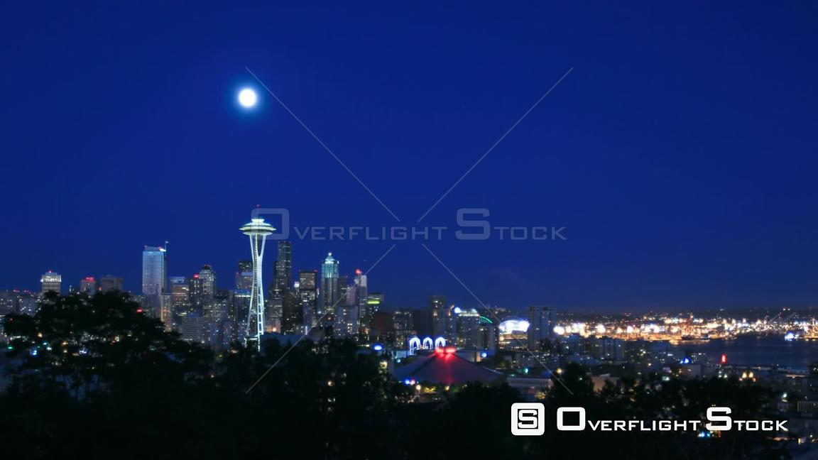 Seattle Washington State USA Seattle cityscape time lapse at nightShot from Kerry Park.