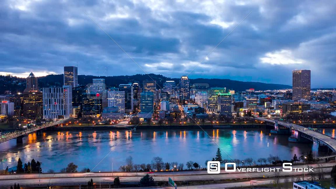 Portland Cityscape Day to Night Timelapse Oregon