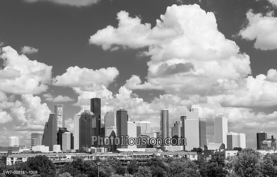 Houston skyline black and white photography