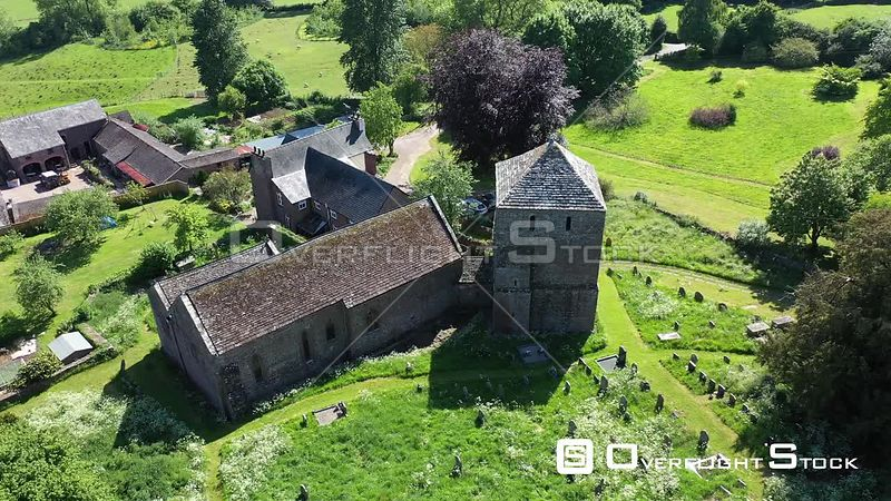Drone Video St. Michael's Church in Garway, Hereford, UK