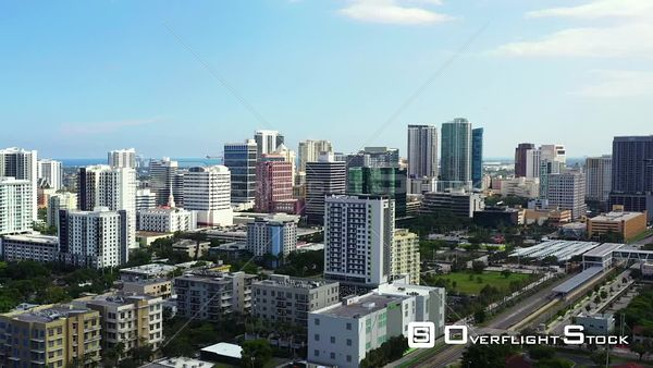 Aerial video view of Downtown Fort Lauderdale from north side