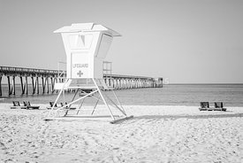 Panama City Pier and Lifeguard Station Black and White Photo