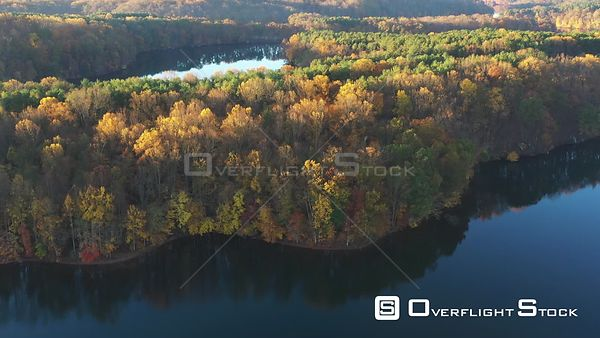 Colorful Trees on a Lake Peninsula, Owings Mills, Maryland, USA