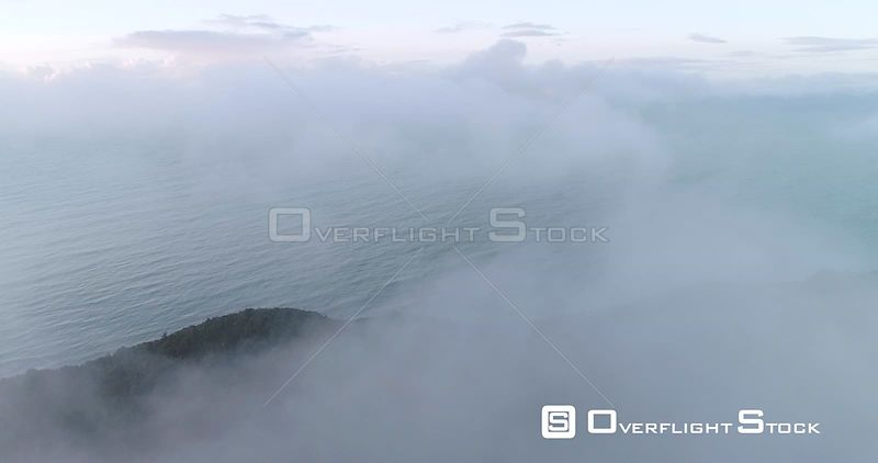 Fly Through Clouds Facing Tasman Sea New Zealand West Coast
