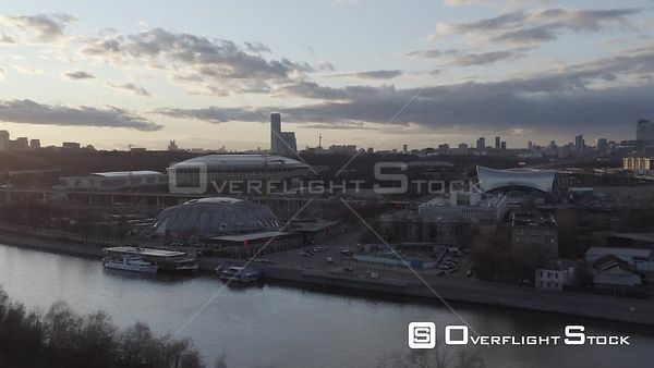 Sideway Flight With Moscow Sport Stadium and Moscow City Skyscrapers. Moscow Russia Drone Video View