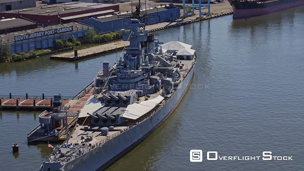 Philadelphia Pennsylvania Aerial Panning birdseye detail of battleship of bank of New Jersey