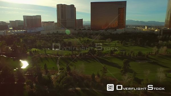 Low flying aerial over golf course Las Vegas Nevada