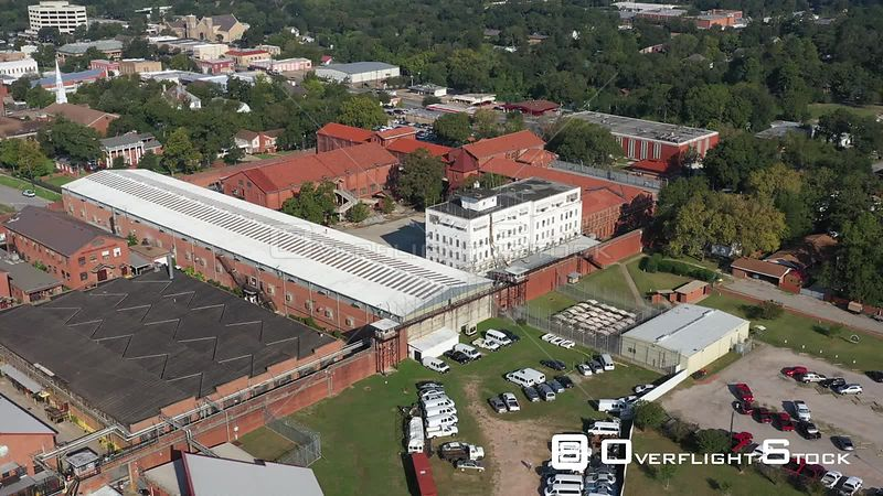 State Prison Overview and Downtown, Huntsville, Texas, USA