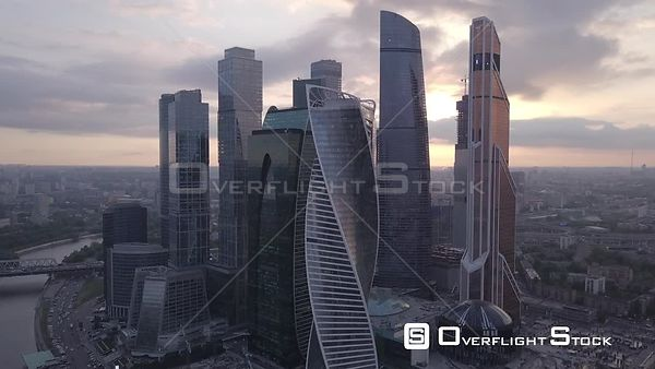 Forward Flight Over Moscow Business City Center MBCC During Sunset. Moscow Russia Drone Video View