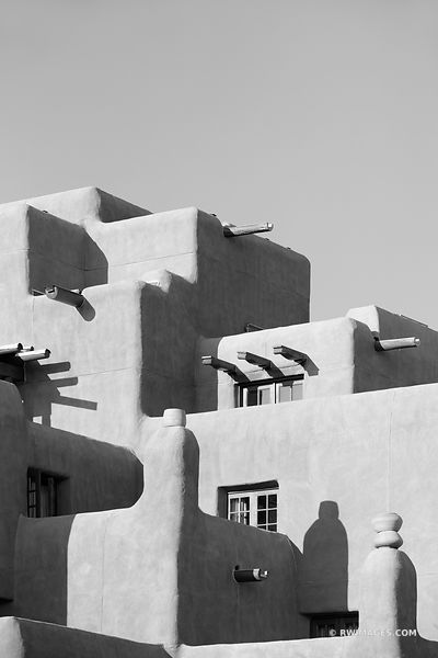 SANTA FE ADOBE ARCHITECTURE SANTA FE NEW MEXICO BLACK AND WHITE VERTICAL