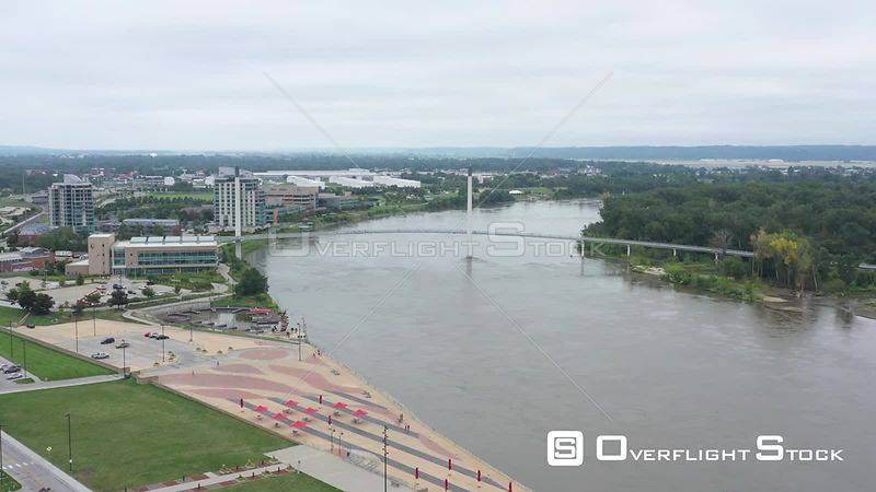 Riverfront and a pedestrian bridge, Omaha, Nebraska, USA