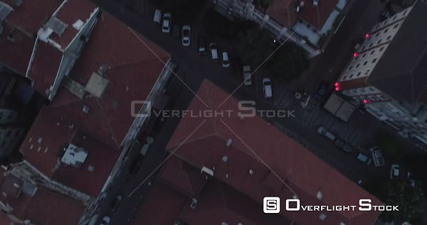 Aerial View Looking Down of Kadikoy Rooftops Tilt up to Sunset Turkey
