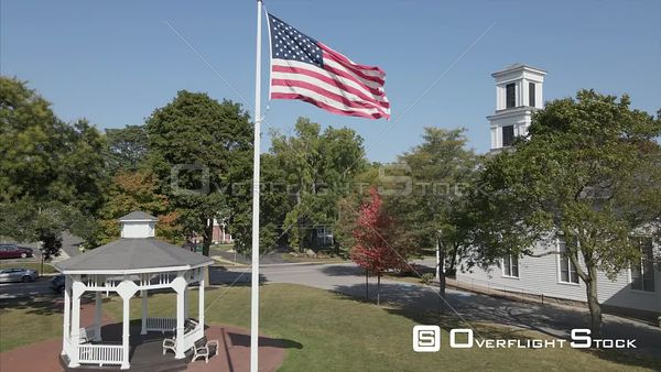 American Flag at a Church Village of Honeoye Falls New York Drone View