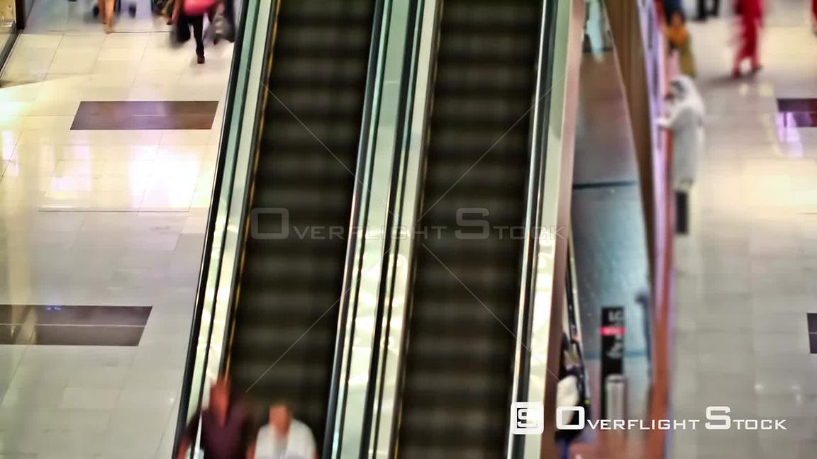 Dubai mall pedestrian traffic time lapse.