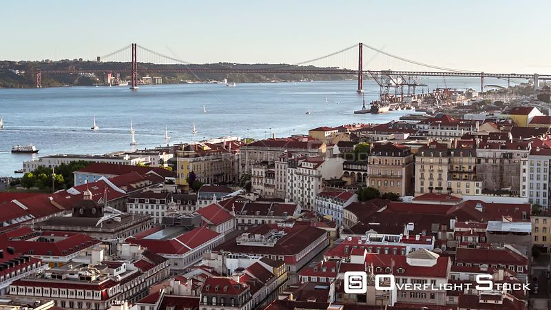 Drone Video Cityscape Lisbon Portugal