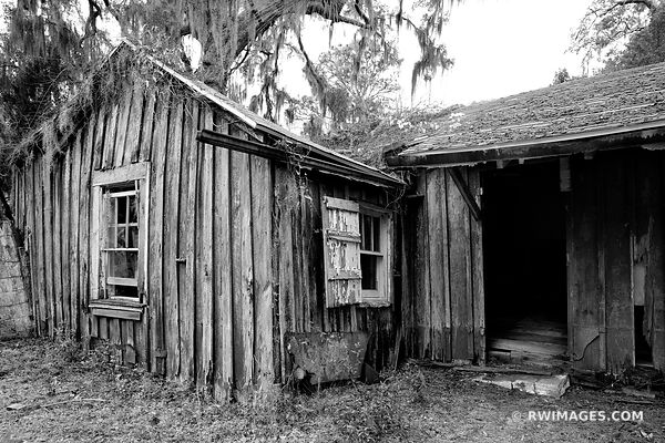 ABANDONED HOUSE THE SETTLEMENT CUMBERLAND ISLAND GEORGIA BLACK AND WHITE