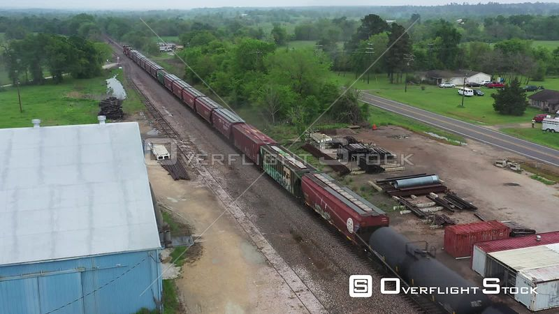 Freight Train Traveling into the Countryside, Shiro, Texas, USA