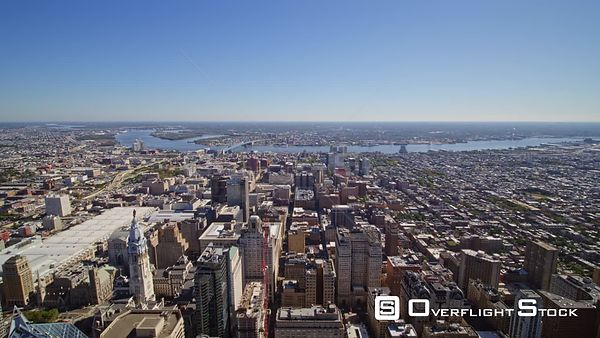 Philadelphia Pennsylvania Aerial High perspective of Downtown and Center City flying toward New Jersey