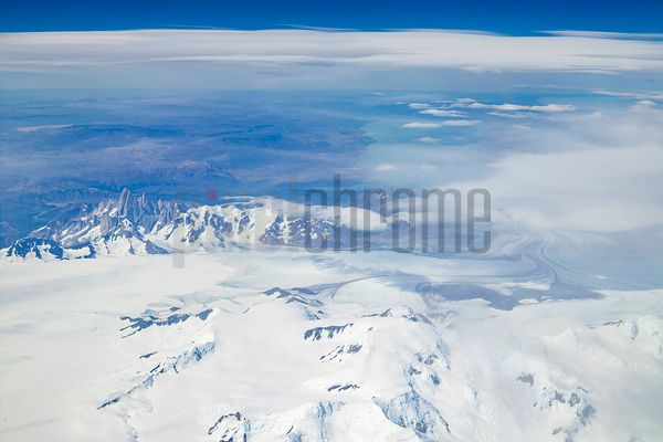 Aerial View of Viedma Glacier and the Fitzroy Massif from the Chilean Side