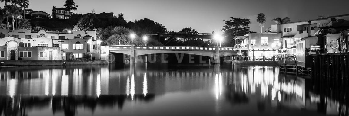 Capitola California at Night Black and White Panorama Photo
