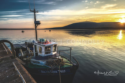 Fishing Craft at Sunset- Ventry Harbor, Ireland
