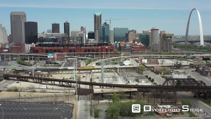 Downtown St Louis and Busch Stadium I-64 during COVID-19 Pandeminc