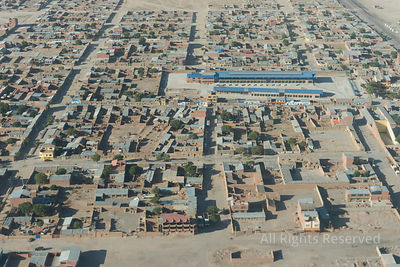 Aerial View from Airplane of Uyuni City Bolivia
