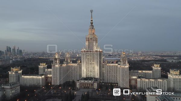 Dusk Sideway Flight With Moscow State University and MBCC. Moscow Russia Drone Video View
