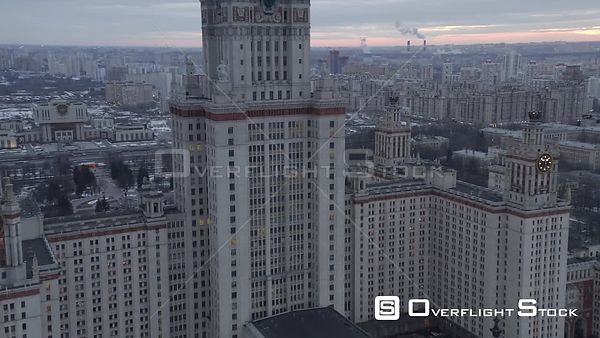Close by Flight Near Moscow State University. Moscow Russia Drone Video View