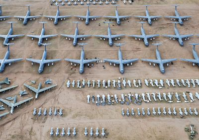 Aerial of mothballed military aircraft at the Davis-Monthan Air Force Base