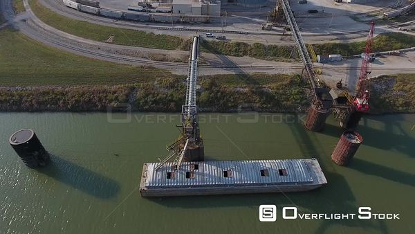 Barge Port on the Ohio River Drone Aerial View