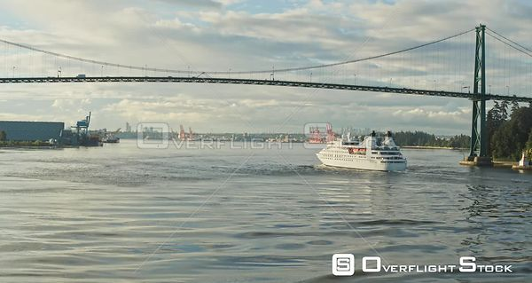 Lionsgate Bridge in Vancouver, BC, Canada. Crusie Ship Burrard Inlet, Stanley Park.