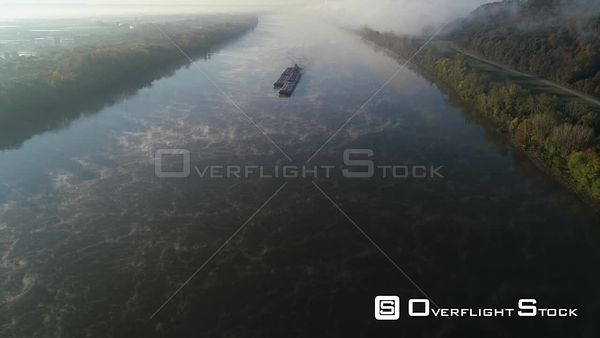 Barge on Ohio River Misty Fog Rural Kentucky in the Autumn Drone Flight