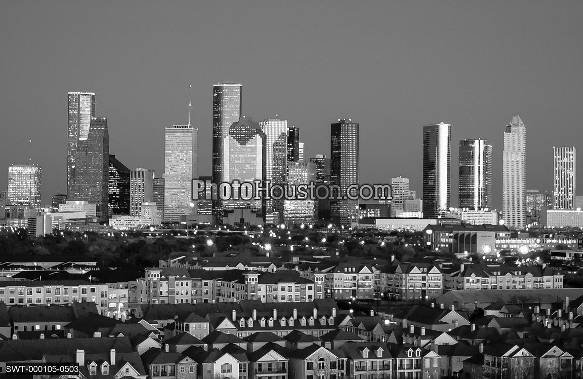 Houston cityscape in black & white