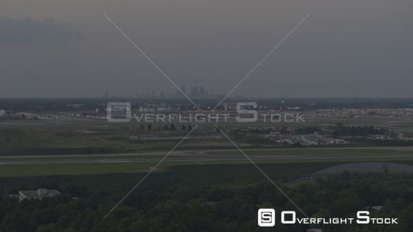 Atlanta Panoramic view of busy airport cityscape at dusk
