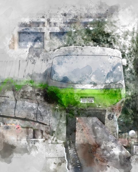 Monorail Green at Contemporary Resort | Digital Watercolor Canvas Gallery Wrap