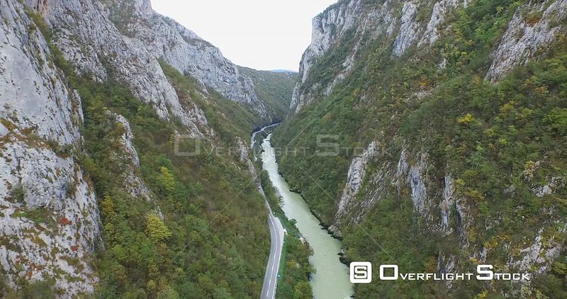 Aerial view of a Vrbas river, Bosnia and Herzegovina