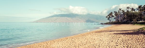 Maui Hawaii Kamaole Beach Retro Panorama Photo