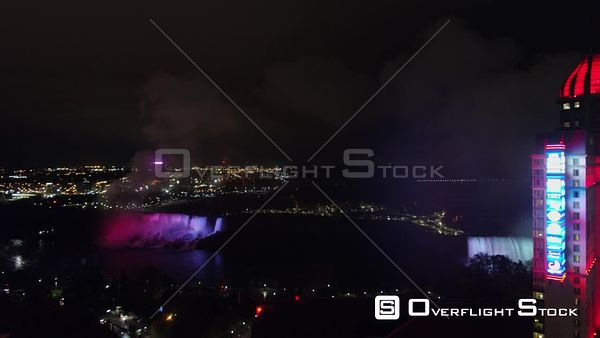 Niagara Falls Ontario Detailed scenic nighttime cityscape fly through with Falls in backdrop