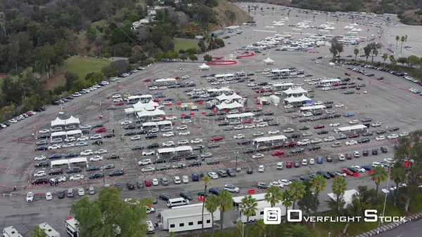 Drive Through Vaccination Site at Dodger Stadium Los Angeles California Drone Aerial View