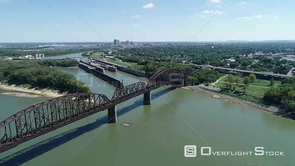 Railway Bridge Indiana to Kentucky Crossing Ohio River Louisville Drone View